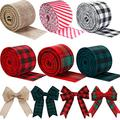 6 Rolls Christmas Wired Edge Ribbons 26.4 Yards x 2 Inches Christmas Gingham Buffalo Plaid Ribbons Check Craft Burlap Ribbon Rolls for Christmas Craft Decorations Crafts Wrapping