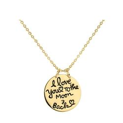 """Designs by Helen Andrews Gold Over Silver 18k Gold Plated Sterling Silver """"I Love You To The Moon and Back"""" Pendant Necklace"""