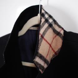 Burberry Jackets & Coats | Burberry Black Wool Overcoat Check Collar Size 40r | Color: Black | Size: 40r