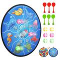 Dart Board Game for Kids with 6 Sticky Balls + 6 Sticky Darts, Double Sided Kids Darts Board Set, Indoor and Outdoor Exercise Toy for Boys Girls Ages 3-Year-Old and Up, 14.5 Inches(Ocean Theme)