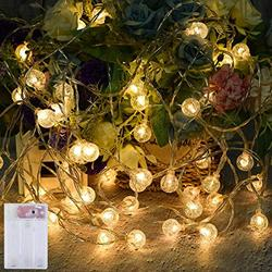 Battery Powered String Lights(2-Pack), 50-LED Globe String Lights with 8-Lighting Modes, Battery Operated Waterproof String Lights for Home, Party, Christmas, Wedding, Garden Decoration 33.4ft