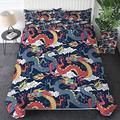 Sleepwish Flying Dragon Duvet Cover with 2 Pillowcases Blue and Red Dragons Fighting in Clouds Pattern 3D Printed Asian Dragon Bedding Set with Zipper Closure (Twin)