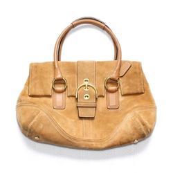 Coach Bags   Coach Tan Suede Leather Shoulder Bag Foldover Flap   Color: Silver/Tan   Size: Os