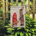 EATRAY Colorful Garden Flag Cute Easter Bunny Rabbit Little Wheel Barrow and Red Egg White Vertical Double Sided Decorative Indoor Outdoor Flags for Home Garden Yard Outside Decor 28 x 40 Inch