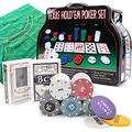 ShellKingdom Poker Chip Set for Texas Holdem, Blackjack 200 Chips Poker Set with Table Cloth Playing Game for Family Friends Party