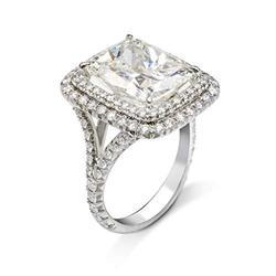 Fashion 925 Sterling Silver Shiny Full Diamond Ring Princess Square Cubic Zirconia Rings CZ Diamond Multi Row Ring Eternity Engagement Wedding Band Ring for Women (US Code 6)