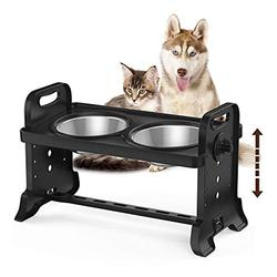Elevated Pet Feeder,Stainless Steel Pet Feeding Bowl Raised Elevated Twin Dog Bowls Water Food Feeder,Three Adjustable Height Raised Dog Pet Feeding Station Stand Removable Double Bowls