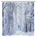 HVEST Winter Forest Shower Curtain Snow Scene Snowy Trees Pine Trees Cedar Snowflake Winter Landscape Snowy Scenery Polyester Waterproof Fabric Bathroom Curtain Set with 12 Hooks 69X70Inches