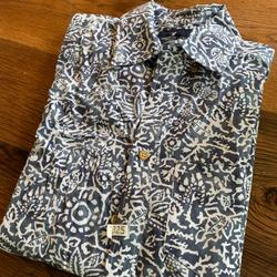 American Eagle Outfitters Shirts | Ae Short Sleeve Poplin Buttonup | Color: Gray/White | Size: Xs