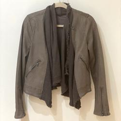 Free People Jackets & Coats | Free People Cropped Denim Moto Jacket Olive Green | Color: Green/Red | Size: 4