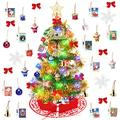 Yodeace Mini Christmas Tree, 2ft Small Christmas Tree with Christmas Tree Skirt and 30pcs Christmas Tree Ornaments for Christmas Decorations