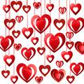 56 Pieces Valentine's Day Heart Hanging Decoration Glitter 3D Red Heart Hanging Kit Foil Heart Swirl Banner for Bridal Shower Engagement Anniversary Wedding Party