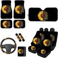 FOR U DESIGNS Seat Cover Combo Set of 13 with 15 Inch Steering Wheel Cover/Seat Belt Pad/Car Box Cushion Folding SUV Visor Front Seat Cover/Floor Mat, Text Sunflower Design Black