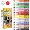zuoshini Coloring Markers Pen, Paint Pens Water-Based Acrylic Markers Set 18 Colors 0.7mm Marker Pens Waterproof Permanent Paint Art Marker Pen Graffiti Pens