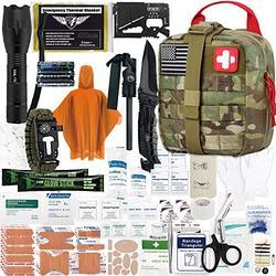 EVERLIT Survival Upgraded Survival First Aid Kit Emergency Gear Trauma Kit with 1000D Nylon Laser Cut Tactical EMT Pouch for Outdoor, Camping, Hunting, Hiking, Earthquake, Home, Office (Multicam)