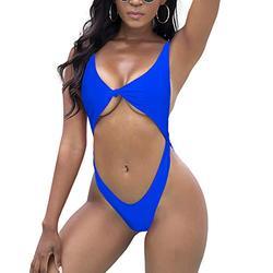 Tainehs Womens Sexy One Piece Bikini Swimsuits High Cut Cheeky Swimwear Thong Bottoms Bathing Swimsuits Blue