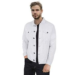 X RAY Mens Denim Jacket Washed Casual Trucker Jean Jacket for Men, White, Large