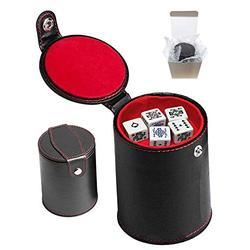 Set of Dice Cup with Storage Compartment Black PU Leather Red Felt Lined + (5) 16mm Poker Dice (Gift Boxed) (Poker (Squared Corners, Spades Ace) - White)