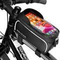"""AGUADA Bike Phone Front Frame Bag – Durable Velcro Straps Handlebar Top Tube Bike Phone Bag - Waterproof Bike Phone Mount Bag - Touch Screen Mountain Bike Phone Holder for Phone Screens Below 6.5"""""""