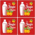 The Holiday Aisle® Premium Absorbent Ceramic My Jingle Juice Coaster Ceramic in Red/White/Yellow, Size 0.25 H x 4.0 D in   Wayfair