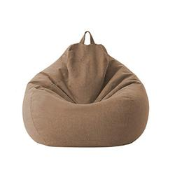 Lazy Sofa Chairs Cover Lounger Bean Bag Storage Chair Cover for Home with Removable Cover Garden Lounge Living Room Chairs Furniture (Brown, 100120cm)