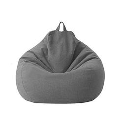 Lazy Sofa Chairs Cover Lounger Bean Bag Storage Chair Cover for Home with Removable Cover Garden Lounge Living Room Chairs Furniture (85105cm, Dark grey)