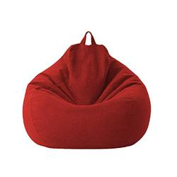 Lazy Sofa Chairs Cover Lounger Bean Bag Storage Chair Cover for Home with Removable Cover Garden Lounge Living Room Chairs Furniture (85105cm, Red)