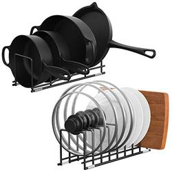 Kitchen Organizer,MOCREO Pot Lid Organizer Rack Holder for kitchen Pan Rack Cabinet Organizers and Storage for Cutting Boards Holder, Plates,Bakeware,Cookware(Black)