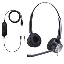 Jaracom USB Headset/ 3.5mm PC Headset with Microphone Noise Cancelling and Mic Mute, Lightweight Telephone Headset with Volume Control, Call Center Headset for Skype, webinar, Cell Phone, Call Center