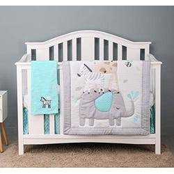 HUPO Jungle Crib Bedding Sets for Baby Boys and Girls,Gray Elephant Crib Set ,4 Piece Cot Bedding Set with Blanket,Unisex Nursey Bedding and Neutral Decoration