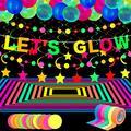 Glow Neon Party Supplies, 98.4 Feet 6 Rolls UV Blacklight Reactive Luminous Tape, 28.9 Feet 2 Pieces Neon Paper Garlands, LET'S GLOW Banner 10 Pieces Star Hanging Swirl, 25 Pieces Fluorescent Balloons