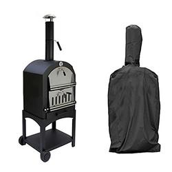 FLR 65 Inch Outdoor Pizza Oven Cover,BBQ Grill Cover, Outdoor Pizza Oven Rain Cover, Heavy Duty Dust-Proof Weather Resistant Polyester Fabric Protective Cover-Black (65x25.5x18in)