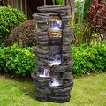 valentinyii Outdoor Floor Water Fountain with LED Lights - 40 Inches High Stacked Simulated Rock Cascading Waterfall Fountain - Soothing and Relaxation Water Feature for Home, Patio, Garden Decor
