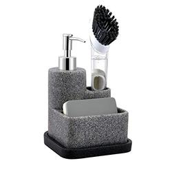 ZCCZ Soap Dispenser with Sponge Holder and Brush Holder, Liquid Hand Soap Dispenser Pump Set Kitchen Sink Organizer Caddy for Sponge Brush Scrubber, Removable Tray