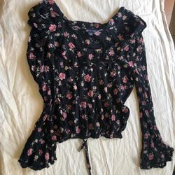 American Eagle Outfitters Tops | Black With Pink Flowers Crop Top Ls Blouse. | Color: Black/Pink | Size: Xs