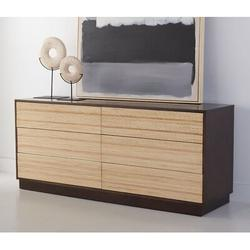 Safavieh Couture Stassie 6 Drawer Double Dresser Wood in Black/Brown/Gray, Size 26.97 H x 62.99 W x 17.72 D in   Wayfair SFV7217A