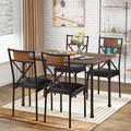 Williston Forge Copple 5 - Piece Dining Set Wood/Metal/Upholstered Chairs in Black/Brown/Gray, Size 29.9 H x 29.5 W x 45.3 D in | Wayfair