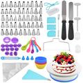 108 Pcs Cake Decorating Supplies Kit, 1 Pcs Cake Turntable With 48 Pcs Icing Tips, 2 Icing Spatulas 1 Cake Leveler 10 Pastry Bags 3 Icing Smoother 2 Cake Flower Lifter 1 Cake Pen 2 Piping Tip Couplers