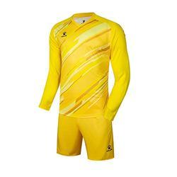KELME Kids Customize Padded Goalie Shirt and Short, Boys Goalkeeper Jersey, Long Sleeve Turf Training Soccer Uniform, Youth Futsal Bundle Set Keeper Kit Clothes Yellow Kid 10