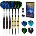 Darts - Steel Tip Darts 6 Pack Metal Tip Darts 24 Grams with Aluminum Shafts, Rubber O' Ring + Extra Flights + 8 Dart Flights Protectors + Darts Sharpener