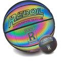 "REBOIL Holographic Reflective Basketball (Size 4 Kids, Size 5 Youth, Size 6 WNBA, Size 7 NCAA & NBA) – Glowing Composite Leather Under Camera Flash – Multi Rainbow Color Official Size (Size 29.5"")"