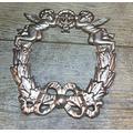 "Cast Iron Victorian Style 9"" Tall & 8"" Wide Angel Wreath Gold Cherub 0170-03236"