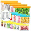 Reusable Storage Bags with Bag Drying Rack, 15 Pack BPA Free Reusable Freezer Bags, Reusable Gallon Bags, Reusable Sandwich Bags, PEVA Silicone Food Bags for Snack, Freezer Meal, Lunch