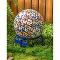 Arlmont & Co. Pocklingt Mosaic Glass Gazing Ball, Flowers Garden Statue Glass in Blue/Green/Red, Size 11.8 H x 9.84 W x 9.84 D in   Wayfair