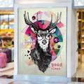 """Trinx 3D Goat Glasses 008 Paintable Wall Mural Paper in Black/White, Size 13.6' L x 100"""" W 
