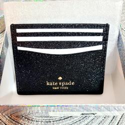 Kate Spade Bags | Kate Spade- Glitter Cardholder With Gift Box | Color: Black | Size: Os