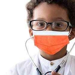50 pcs of ASTM Level 3 Disposable Kids Face Mask - Made in USA - Certified by Eurofins & Nelson Labs   Designed for Children   For Girls and Boys, School, Outdoor, University (Tangerine Orange)