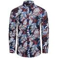 TUNEVUSE Mens Floral Shirt Casual Long Sleeve Palm Leaf Print Button Down Dress Shirt Cotton Palm Leaf Print Large