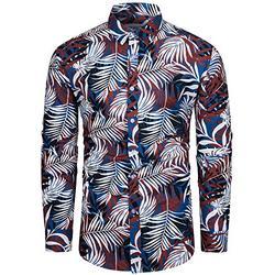 TUNEVUSE Mens Floral Shirt Casual Long Sleeve Palm Leaf Print Button Down Dress Shirt Cotton Palm Leaf Print Blue Large