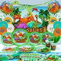 Dinosaur Party Supplies Decorations Tableware with 5 x 3ft Dinosaur Backdrop and Dinosaur Balloons Serves 16 Guests Dinosaur Themed Birthday Indoor Outdoor Party Supplies- 163pcs